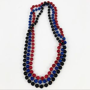 Thread Wrapped Beaded Necklace Set Red Blue Black
